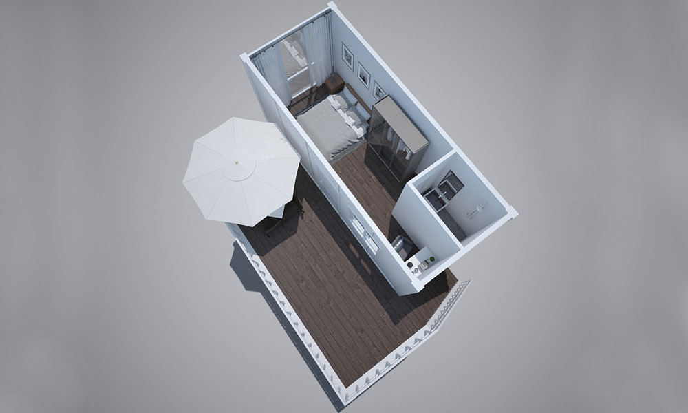 stair container house with balcony