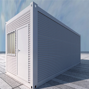 Container house with corrugated metal sheet