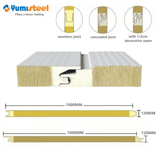 pu sealing rockwool sandwich wall panel